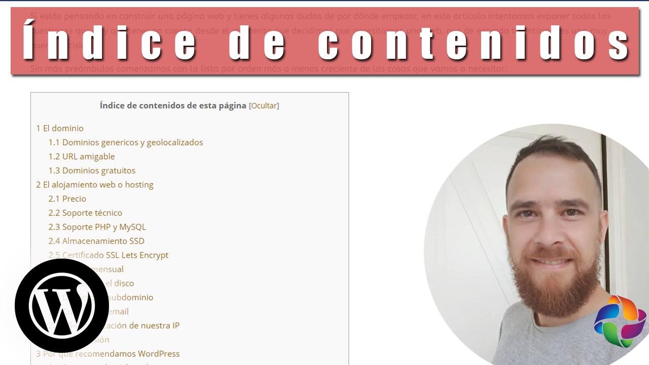 Índice de contenidos ✔️ Table of contents plus ➕